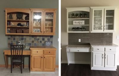 Before and after kitchen refinishing Grandville MI